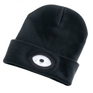 Draper - Beanie Hat with 1W Rechargeable Torch - 100 Lumens (Black, One Size)