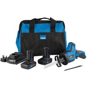 Draper - Draper Storm Force® 10.8V Power Interchange Reciprocating Saw Kit (+2 x 4Ah Batteries, Charger and Bag)