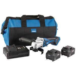 Draper - D20 20V 115mm Brushless Grinder Kit (+2 x 5Ah Batteries, Charger and Bag)