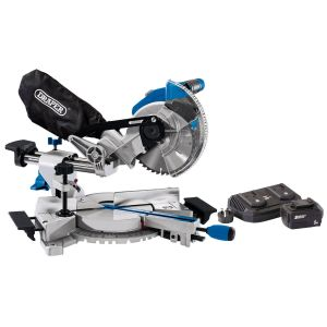 Draper - D20 20V Brushless 185mm Sliding Compound Mitre Saw with 5Ah Battery And Twin Charger