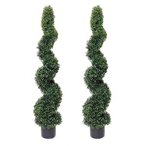 2 x Artificial Spiral Boxwood Topiary Trees 4ft/120cm