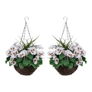 2 X Artificial Hanging Baskets with White Pansies & Decorative Grasses