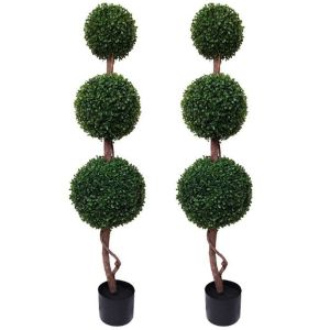 2 x Artificial Triple Ball Boxwood Topiary Trees 4ft/120cm