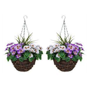 2 X Artificial Hanging Baskets Purple & White Pansies & Decorative Grasses