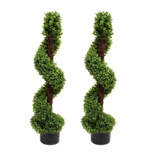 2 x Artificial Premium Topiary Boxwood Spiral Trees 3ft/90cm