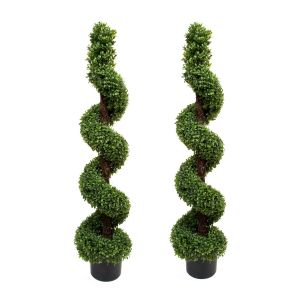 2 x Artificial Premium Topiary Boxwood Spiral Trees 4ft/120cm
