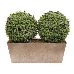 Artificial Topiary Aglaia Boxwood 35cm Window Box Tin Planter Double Ball Rustic
