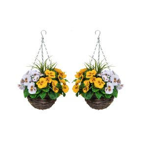 2X Artificial Hanging Baskets with Yellow & White Pansies & Decorative Grasses