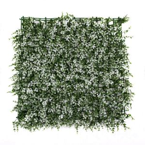 Artificial Green Wall Hedge with Small White Leaf Foliage (Pack of 4)