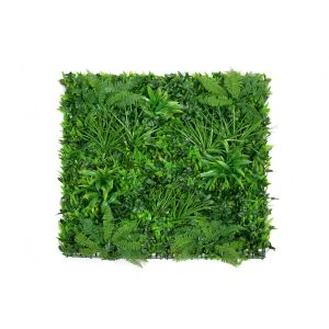 Artificial Premium Green Wall Hedge with Clover Leaf Foliage and Purple Flowers (1m x 1m)