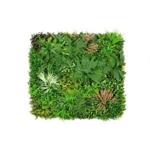 Artificial Premium Green Wall Hedge with Mixed Green and Pastel Pink Leaf Foliage (1m x 1m)