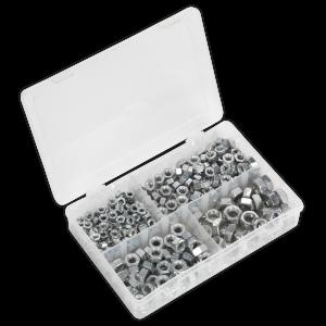 "Sealey Steel Nut Assortment 320pc 1/4""-1/2""UNF DIN 934"