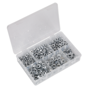Sealey Flange Nut Assortment 390pc M5-M12 Serrated DIN 6923 Metric
