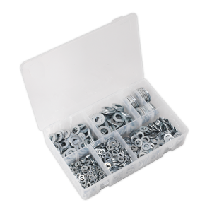 Sealey Flat Washer Assortment 1070pc M5-M16 Form A Metric DIN 125