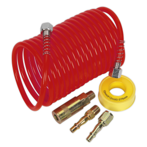 Sealey Air Hose Kit 5m x Ø5mm PU Coiled with Connectors