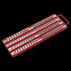 "Sealey Socket Rail Tray Red 1/4"", 3/8"" & 1/2""Sq Drive"