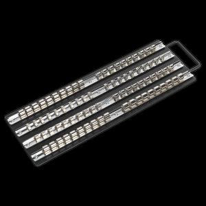 "Sealey Socket Rail Tray Black 1/4"", 3/8"" & 1/2""Sq Drive"