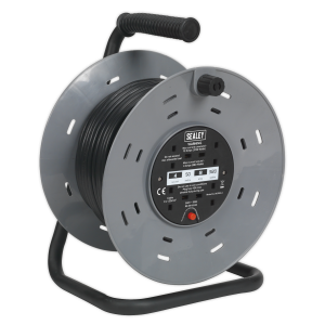 Sealey Cable Reel 50m 4 x 230V 1.25mm² Thermal Trip