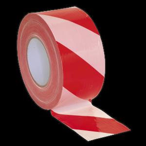 Sealey Hazard Warning Barrier Tape 80mm x 100m Red/White Non-Adhesi