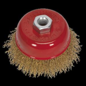Sealey Brassed Steel Cup Brush Ø75mm M10 x 1.5mm