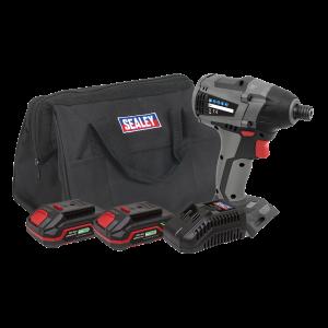 """Sealey Brushless Impact Driver Kit 1/4""""Hex 20V - 2 Batteries"""