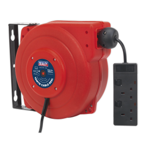 Sealey Cable Reel System Retractable 15m 2 x 230V Socket