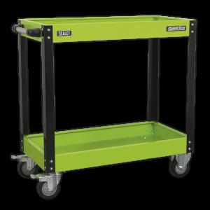 Sealey Workshop Trolley 2-Level Heavy-Duty - Hi-Vis Green