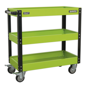 Sealey Workshop Trolley 3-Level Heavy-Duty - Hi-Vis Green