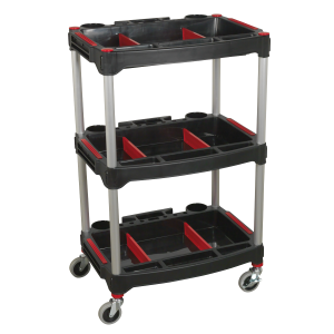 Sealey Workshop Trolley 3-Level Composite with Parts Storage
