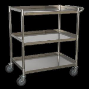 Sealey Workshop Trolley 3-Level Stainless Steel