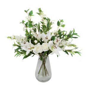 Premium Quality Artificial White Bouquet – Floral Arrangement with Lilies, Roses, Delphiniums, Elderflower & Greenery