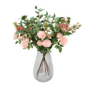 Premium Quality Artificial Peach Bouquet – floral arrangement with Peonies, Elderflower, Berries & Greenery