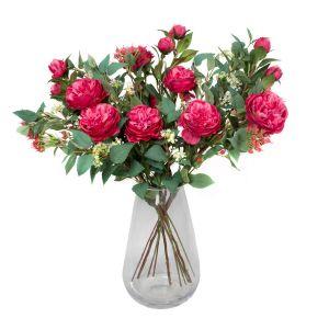 Quality Artificial Dark Pink Bouquet – Floral Arrangement with Peonies, Elderflower, Berries & Greenery