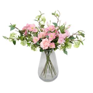 Quality Artificial Pink Bouquet – Floral Arrangement with Roses, Hellebores, Elderflower, Peonies & Greenery
