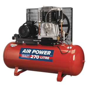 Sealey Compressor 270L Belt Drive 10hp 3ph 2-Stage with Cast Cylind