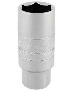 "Draper - 3/8"" Sq. Dr. 14mm Thread 6 Point Satin Chrome Spark Plug Socket (21mm Socket)"