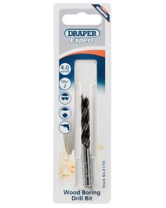 Draper - 4.0mm Wood Drill Bit Pack Of 2