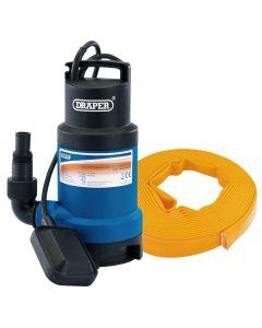 Draper - 200L/Min Submersible Dirty Water Pump Kit C/W Layflat Hose (10m x 25mm) - Kit 1