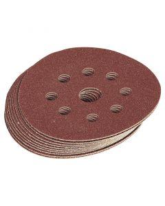 Draper - Ten 125mm Assorted Grit Hook and Loop Sanding Discs