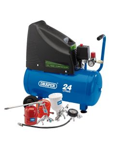 Draper - 230V Oil Free Compressor and Air Tool Kit