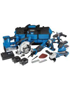 Draper - D20 20V Jumbo Kit (7 Piece) (+1x 3Ah Batteries, 1x 5Ah Battery, Charger and Wheeled Tool Bag)
