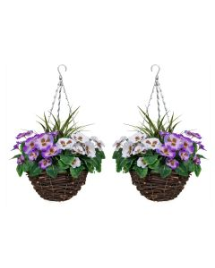 2 X Artificial Hanging Baskets Purple & White Pansies & Decorative Grasses
