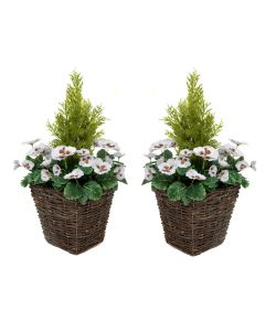 2 x Artificial Rattan Patio Planters with White Pansies & Cedar Conifer