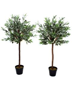 4ft Premium Quality Artificial Olive Standard Tree with Olives (Set of 2)