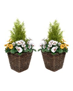 2 x Artificial Rattan Patio Planters with Yellow & White Pansies Cedar Conifer