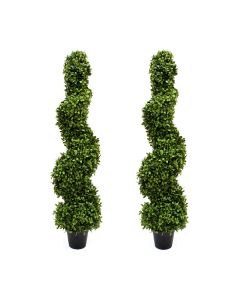 2 x Artificial Premium Spiral Boxwood Topiary Trees 3ft/90cm