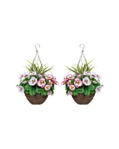 2 X Artificial Hanging Baskets with Soft Pink & White Pansies Decorative Grasses