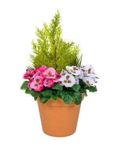 Terracotta Artificial Plastic Patio Planter Dark Pink & White Pansies & Cedar Topiary