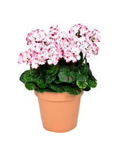 Terracotta Artificial Plastic Patio Planter Pink Geraniums