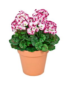 Terracotta Artificial Plastic Patio Planter Purple Geraniums